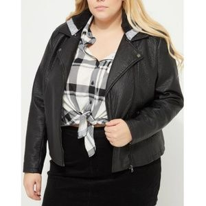 NEW plus size faux leather jacket removable hat